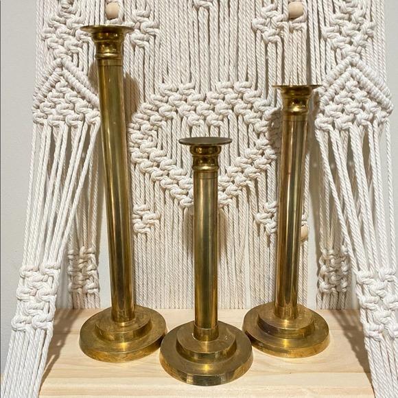 Candlesticks Vintage Distressed Brass Set of 3